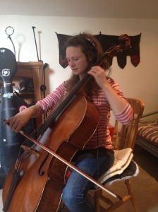 Beth Porter putting down cello on some tracks
